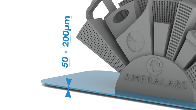 AmeraLabs SLA 3D printing Attachment Layer Height should be 50 - 200 microns