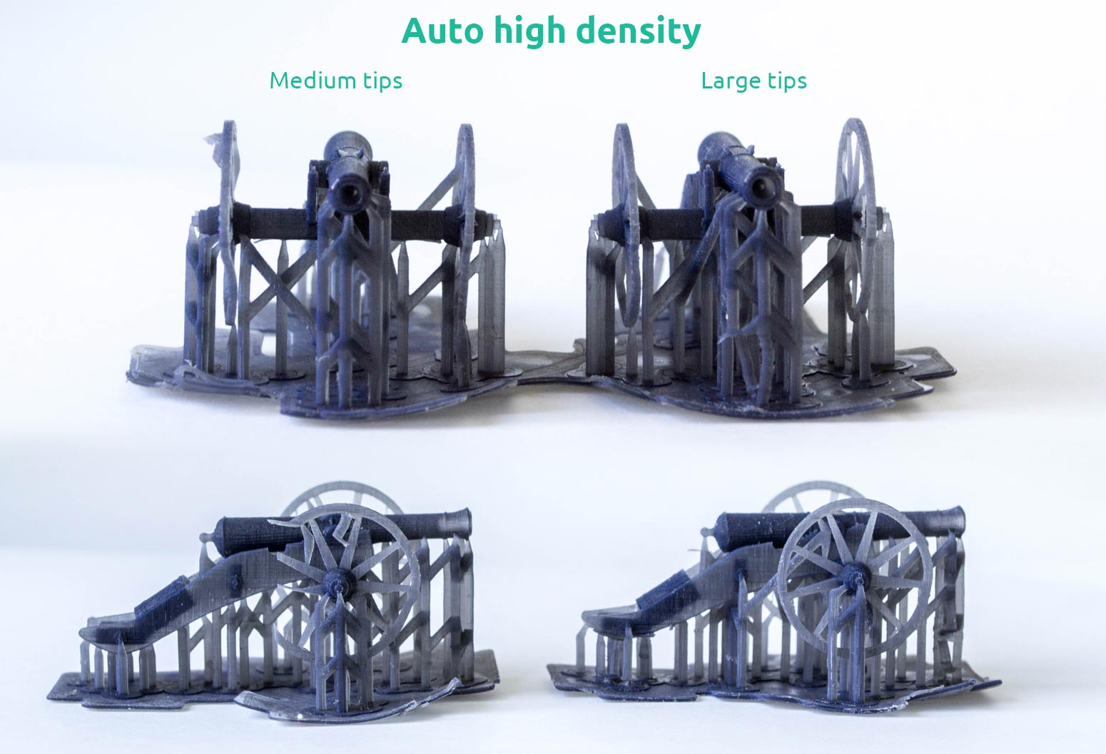 AmeraLabs key principles of 3D printing supports that work experiment moai 3D printed cannons high density