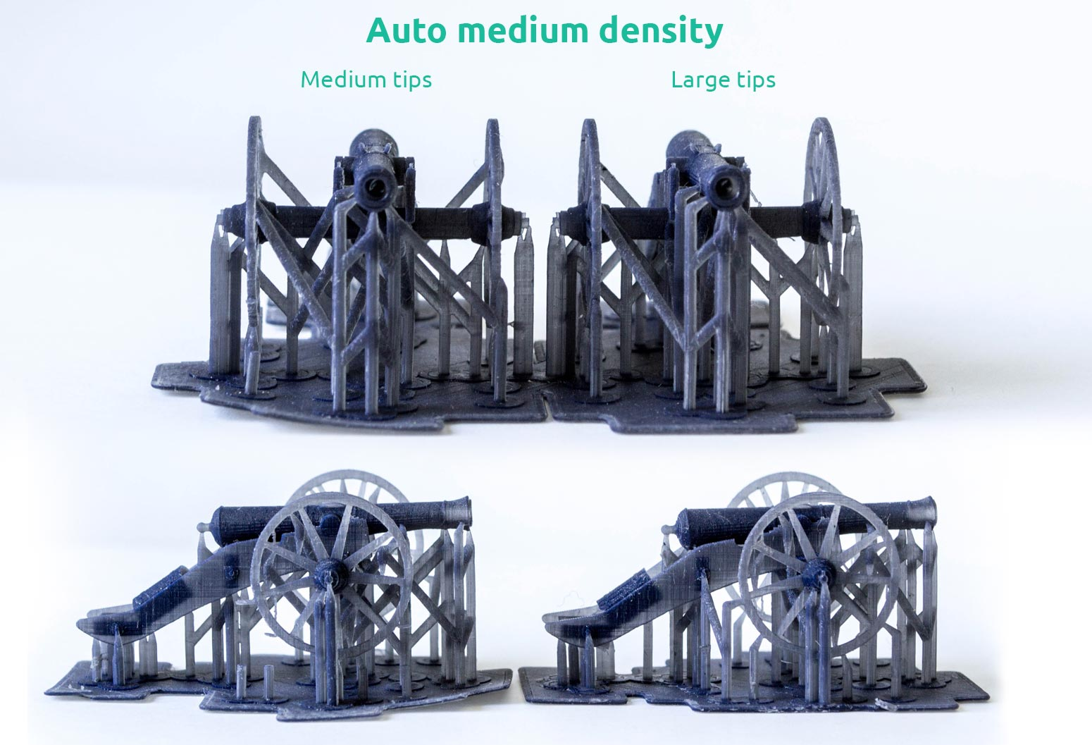 AmeraLabs key principles of 3D printing supports that work experiment moai 3D printed cannons medium