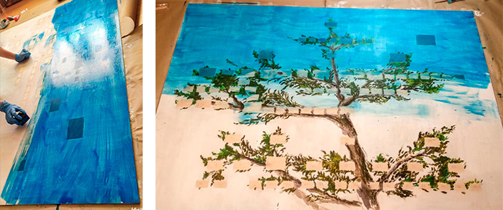 AmeraLabs metal plated resin 3D prints family tree painting 1-2