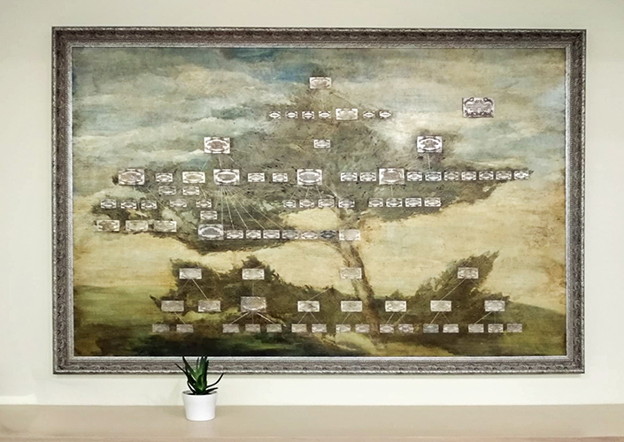 AmeraLabs electroplating metal plated resin 3D prints family tree painting final result