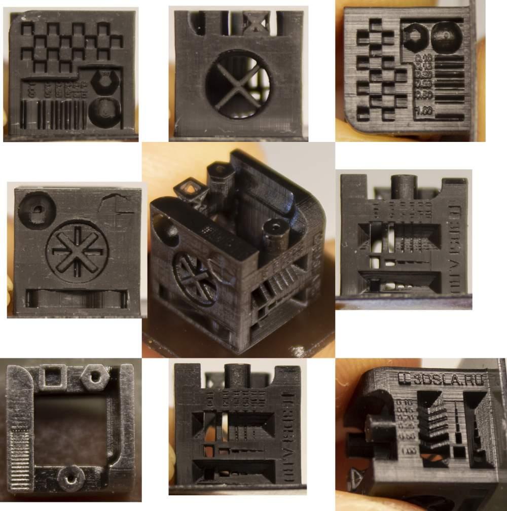 3D SLA test cube Ameralabs resin